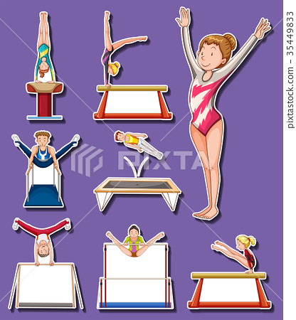 Sticker set for gymnastics players 35449833