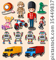 Sticker design with different toys and trucks 35449837