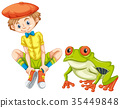 Green frog and little boy 35449848