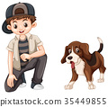 Little boy and cute beagle dog 35449855