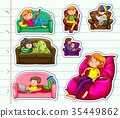 Sticker design with people on sofa 35449862