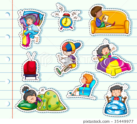 Sticker design with kids relaxing in bed and sofa 35449977