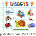 Sticker design with different types of insects 35449979