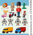 Sticker design with many types of toys 35449986