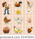 Sticker design for farmer and chickens 35450001