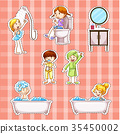 Sticker design with kids doing things in bathroom 35450002