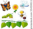 Sticker design with leaves and insects 35450011