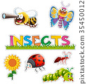 Many insects in sticker design 35450012