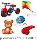 Sticker design with tricycle and other toys 35450015