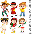 Boys and girls in different country costume 35450030