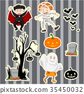 Sticker set for kids in halloween costumes 35450032