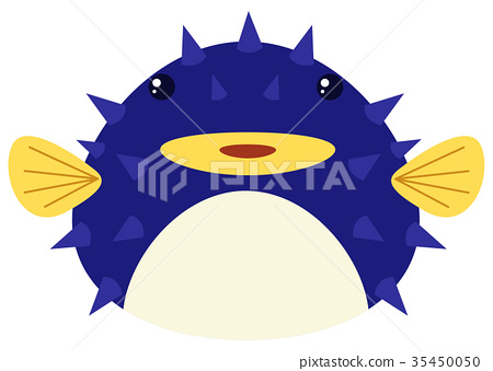 Blue puffer fish on white background 35450050