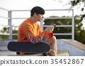 젊은남자,스케이트보드 35452867