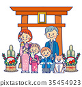 First generation of two generation Japanese-styled families and pets 35454923