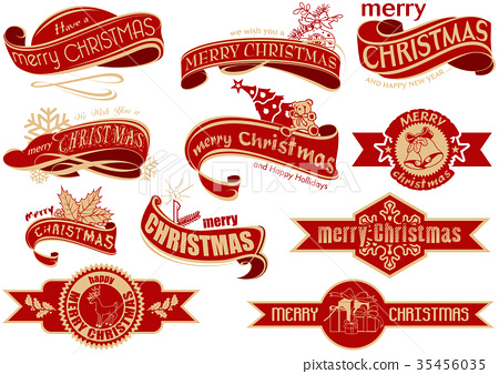 Red Christmas Banner Set 35456035