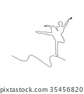ballerina dancing vector illustration curved line 35456820