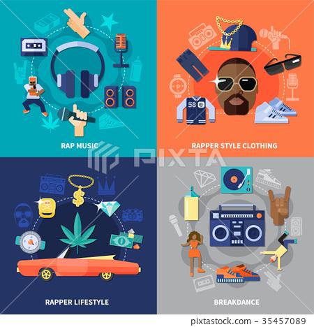 Rap Music Flat Concept 35457089