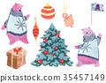Bear decorates a Christmas tree. Collection of 35457149