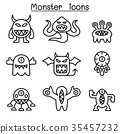 Monster icon set in thin line style 35457232