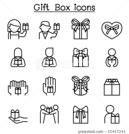 Gift box icon set in thin line style 35457241