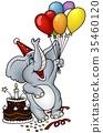 Birthday Elephant with Balloons 35460120