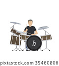 Man Plays on Big Drum Set Isolated Illustration 35460806
