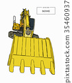 Yellow backhoe loader , sketch vector. 35460937
