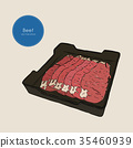 Raw beef meat sliced in tray. Vector Illustration 35460939
