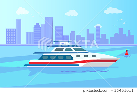 Luxurious Modern Yacht on Water Surface near City 35461011