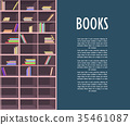 Book Store Promotion Poster with Wooden Bookcase 35461087