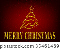 Christmas Tree on Red Glitter Background  35461489