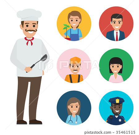 Italian Chef and Set of People of Different Jobs 35461515