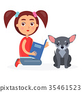 Small Girl Reads Blue Book to Little Chihuahua 35461523