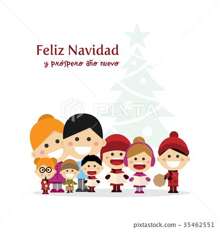 Cute family singing carols at Christmas Night  35462551