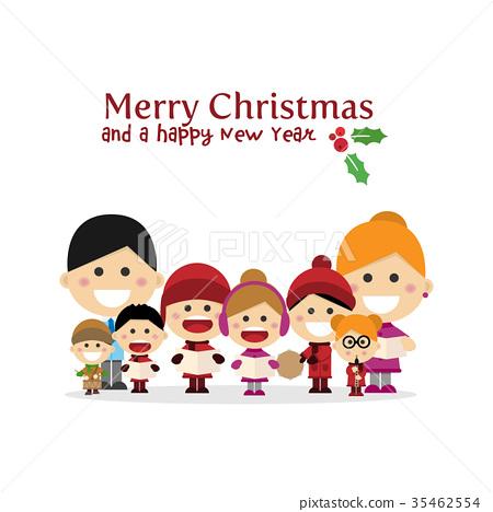 Cute family singing carols at Christmas Night 35462554