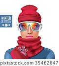 illustration, ski, winter 35462847