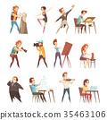 Creative Professions Cartoon Icons Set  35463106