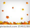 Autumn background with maple leaves. Vector 35463288