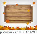 Autumn background with maple leaves and wooden 35463293