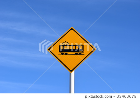Road sign with level crossing - Stock Photo [35463678] - PIXTA