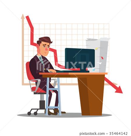 Unhappy Trader Man Vector. Trader Desk In Trader 35464142