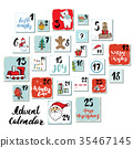 Christmas advent calendar. Hand drawn illustration 35467145