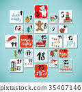 Christmas advent calendar. Hand drawn illustration 35467146