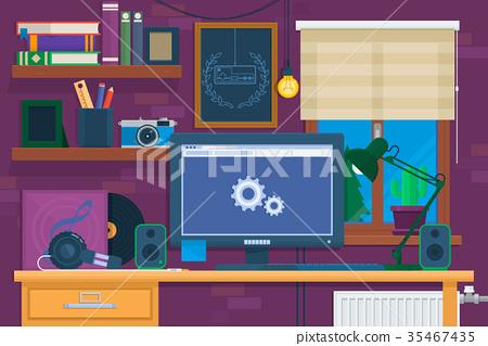 Creative office interior in loft space.modern 35467435