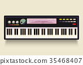 Vector. Musical flat background. Piano key, 35468407