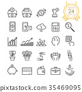 Finance line icon set of banknote, coin, money. 35469095