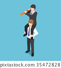 Businessman on his colleague and use spyglass 35472828