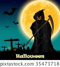 Halloween night background 35473718