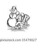 two children building snowman vector illustration 35479027