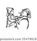 little boy building a snowman vector illustration 35479028
